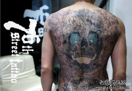 满背龙与鹰神纹身图案