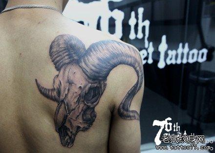 后背羊骷髅纹身图案