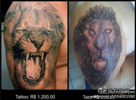 胳膊狮子纹身图案