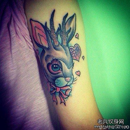 胳膊鹿兔纹身图案图片
