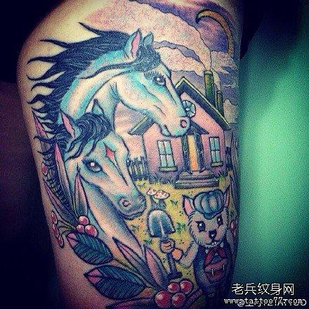 腿部天马纹身图案