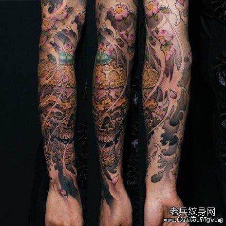 手臂水浪纹身图案