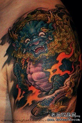 霸气的满背麒麟纹身图案