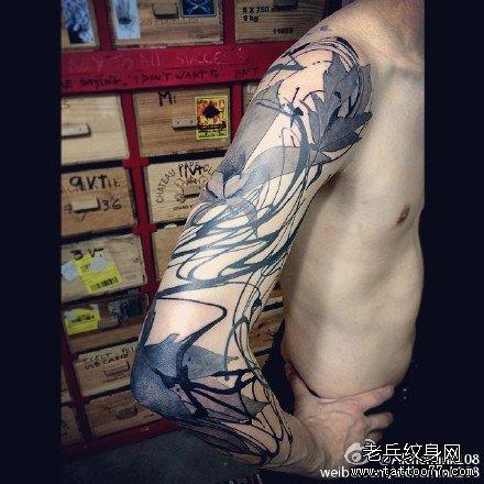 手臂花字纹身图案