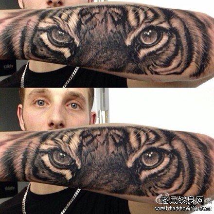 手臂虎眼纹身图案
