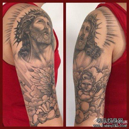 胳膊耶稣纹身图案图片