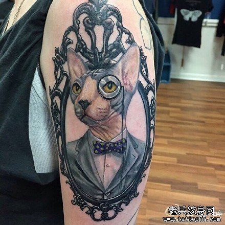 胳膊猫纹身图案