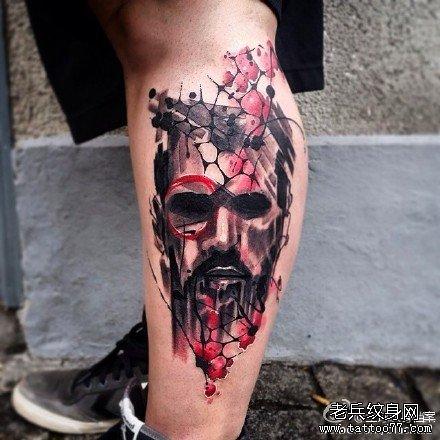 腿部无情脸纹身图案
