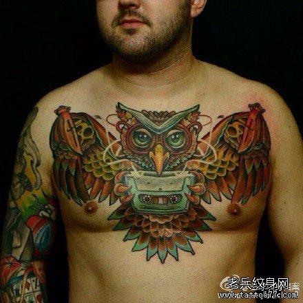猫头鹰怀表纹身手稿_猫头鹰怀表纹身手稿分享展示