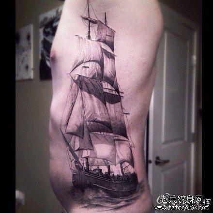 腰部船纹身图案图片