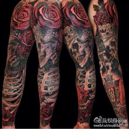皇后骷髅玫瑰纹身图案