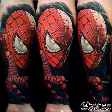 手臂蜘蛛侠肖像纹身图案图片