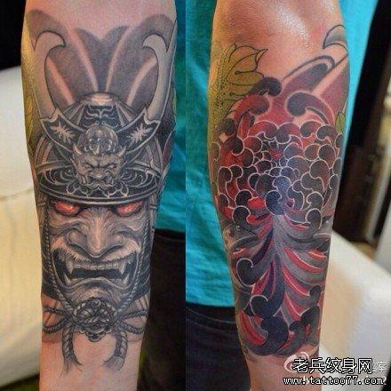 满背日本武士纹身图案