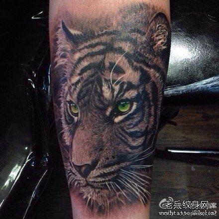 小腿虎头纹身 图案分享展示