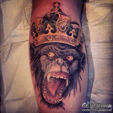 腿部猴子国王纹身图案