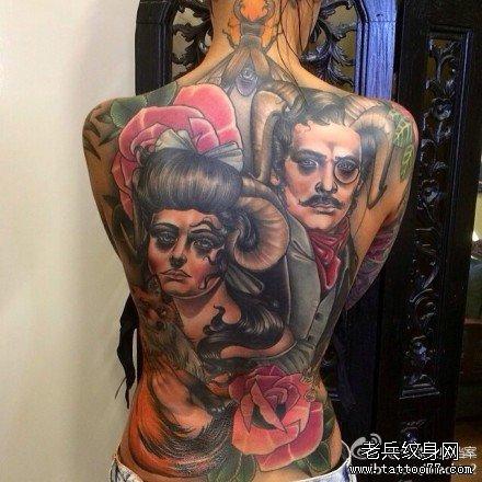 满背恶魔世界纹身图案
