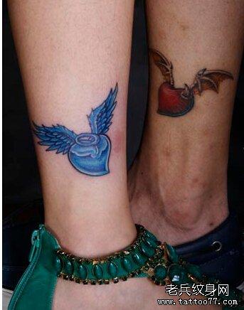 腿部爱心翅膀纹身图案 (343x436)