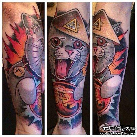 手臂凯蒂猫纹身图案