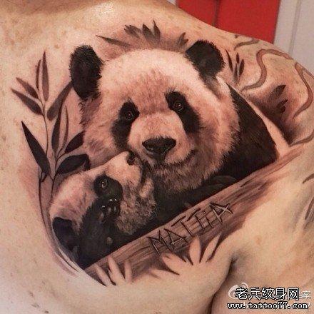 后背熊猫纹身图案