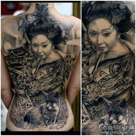 满背艺妓纹身图案