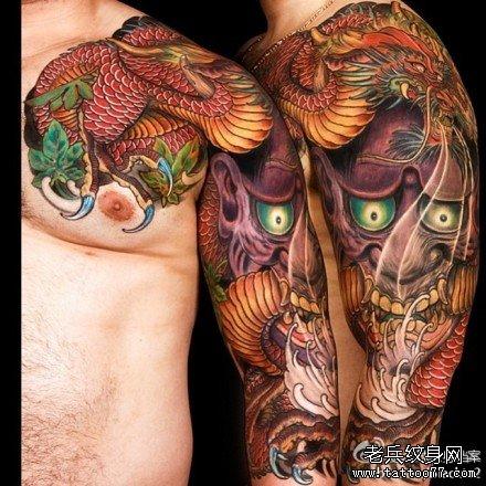 半胛红龙般若纹身图案