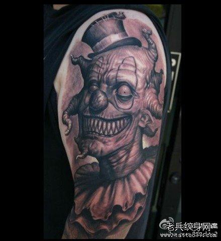 个性小丑纹身手稿图案由武汉纹身提供