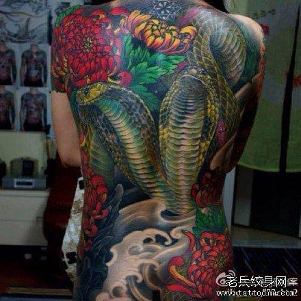 满背绿龙纹身图案