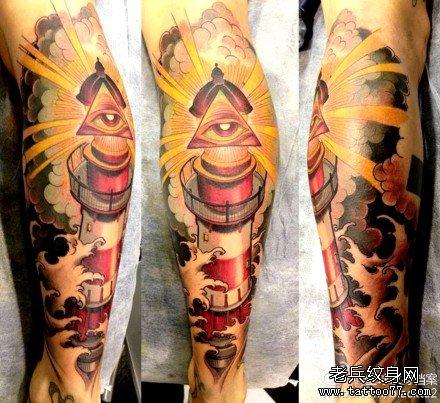 腿部熊猫纹身图案