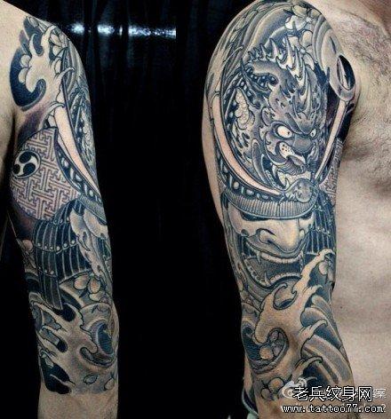 胳膊鬼武士纹身图案