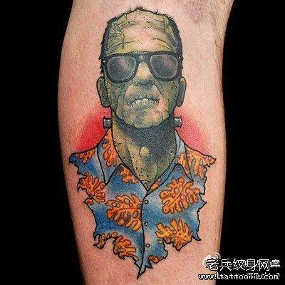 腿部弗兰克僵尸纹身图案
