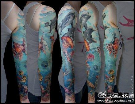 背部海豚纹身图案