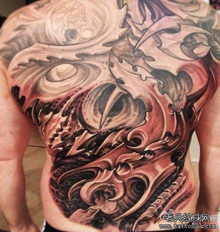 满背象神纹身图案