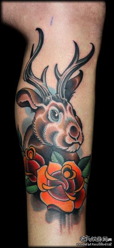 梅花鹿头纹身图片腿分享展示