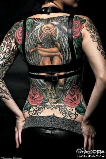 满背天使纹身图案图片