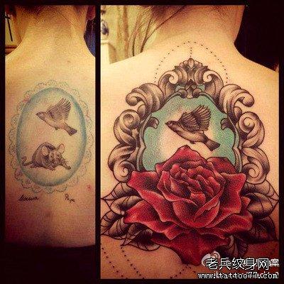 后背镜子小燕玫瑰纹身图案