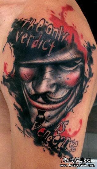 胳膊眼睛出蛇骷髅纹身图案