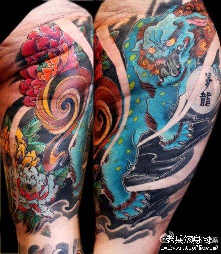 胳膊唐狮纹身图案