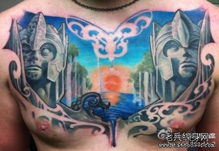胸部守护者纹身图案