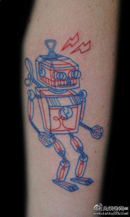 腿部蓝线机器人纹身图案图片