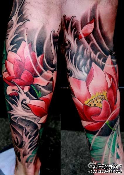 腿部莲花纹身图案