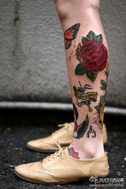 腿部红玫瑰纹身图案