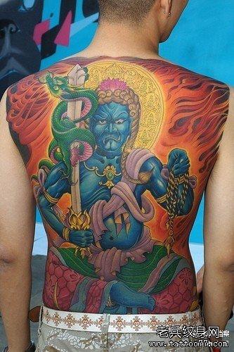 满背不动明王纹身图案