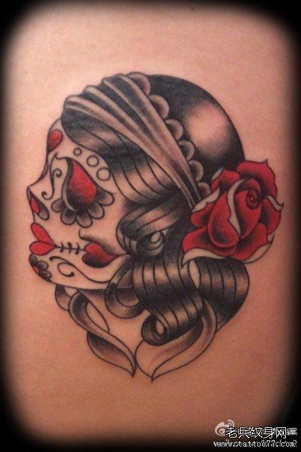 玫瑰骷髅纹身图案