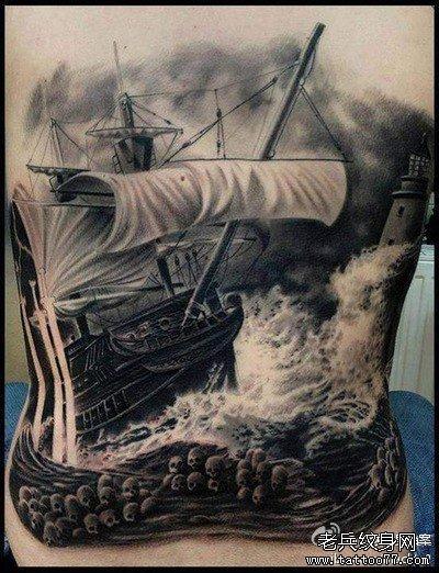 满背张飞与龙纹身图案 (400x522)-张飞关羽半甲纹身图案图片