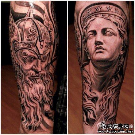 手臂希腊神话石像纹身图案
