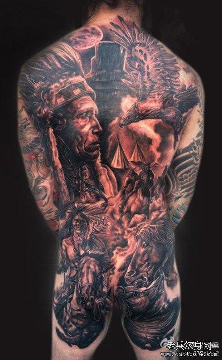 满背印第安纹身图案