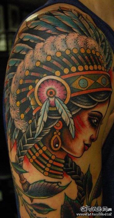 印第安女郎纹身图案分享展示图片