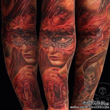 手臂狼男肖像纹身图案图片