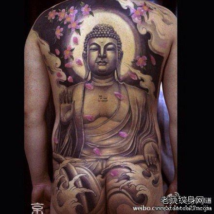 满背佛祖纹身图案图片
