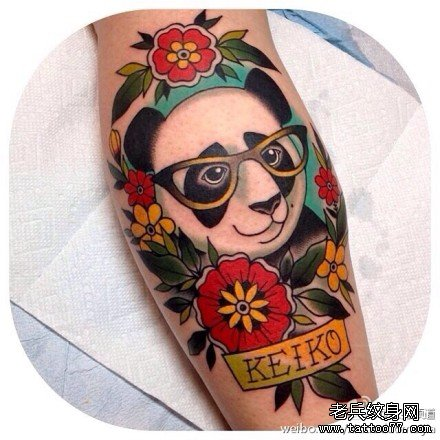 手臂熊猫纹身图案图片